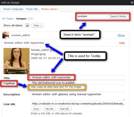 WordPress will help you add metadata to your images