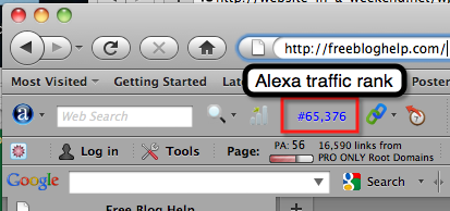 Alexa toolbar shows Alexa traffic rank.